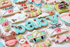 It's a baby! Love this cookie collection by as she celebrates with airplanes and hot air balloons! She is using our Alphabet Block Lowercase XL cutters Tall Cakes, Cute Themes, Alphabet Blocks, Baby Cookies, Reveal Parties, Baby Birthday, Lower Case Letters, Lowercase A, Cookie Cutters