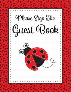 baby shower guest list set printable download red black ladybug baby shower decorations b10002