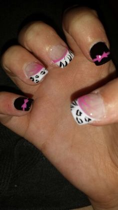 Zebra print and leopard print nail designs