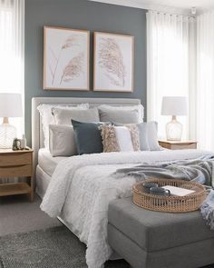 If you're looking for decorating tips for your rental, or you're just looking for interior design inspiration to give your rental bedroom a makeover, my latest post featuring my calm blue grey bedroom Blue Gray Bedroom, Grey Bedroom Decor, Bedroom Colors, Dream Bedroom, Home Bedroom, Grey Bedroom Design, Master Bedroom Grey, Bedroom Interior Design, Modern Grey Bedroom