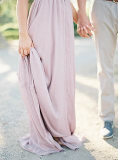 a bride-to-be in a lavender gown by http://loveshackfancy.com/ Photography: Jen Huang Photography - jenhuangphotography.com  Read More: http://www.stylemepretty.com/2014/09/08/santa-barbara-engagement-shoot-among-the-lavender-and-oak-trees/