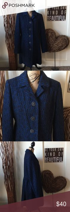 Merona pretty black and blue patterned coat This pretty black and brilliant blue patterned coat has beautiful cut out buttons down the front.  The back has a pleated waist that gives this coat a very feminine fit.  the coat is approximately 36 inches from shoulder to hem. Merona Jackets & Coats