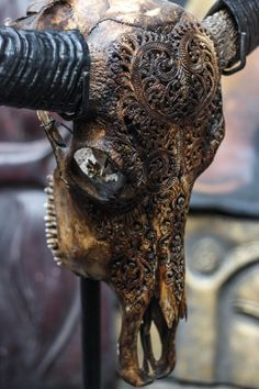 Hand Carved Heart BUFFALO Skull Longhorns by AntiqueArtCollection