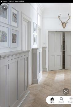 Wainscoting Hallway, Tiled Hallway, Upstairs Hallway, Modern Hallway, Bungalow Hallway Ideas, Cottage Hallway, Entrance Hall Decor, Hallway Ideas Entrance Narrow, Stair Paneling