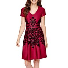 Studio 1® Cap-Sleeve Flocked Fit-and-Flare Dress  found at @JCPenney