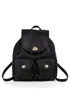 COACH Leather Turnlock Backpack - Black