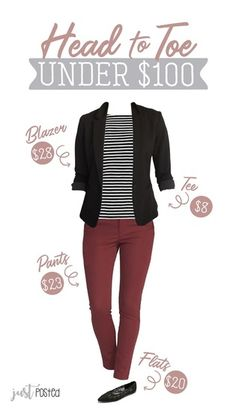 maroon pants paired with this striped top and this simple black knit blazer. Prefer not pointed flats Summer Work Outfits, Casual Work Outfits, Business Casual Outfits, Business Attire, Office Outfits, Work Attire, Mode Outfits, Work Casual, Fall Winter Outfits
