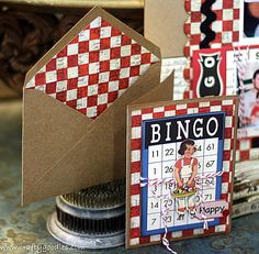 Bingo card and Family Fun paper doll. Red Twirly Twine. Envelope lined with Marshall Matthew checkered cardstock