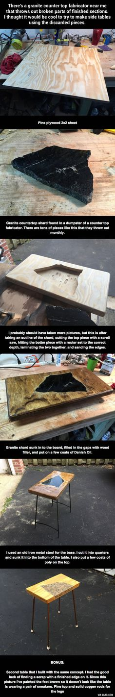 There's a granite counter top fabricator near this guy that throws out broken parts of finished sections, so he...