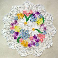 Flower Bouquet Doily Crochet Pattern                                                                                                                                                                                 More