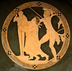 Ajax taking Cassandra, tondo of a red-figure kylix by the Kodros Painter, c. 440-430 BC, Louvre