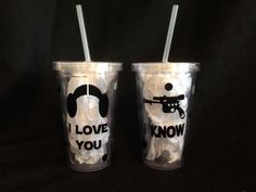 I Love You, I Know, Star Wars Tumblers, Han Solo and Leia Couples Set by TheLittleSparkleShop on Etsy https://www.etsy.com/listing/253228198/i-love-you-i-know-star-wars-tumblers-han