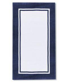 Navy Beach Towel with Border #williamssonoma