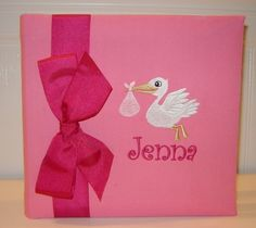 Baby Photo Album with stork making a delivery for by doodlebugsga Purchase at www.doodlebugsga.etsy.com