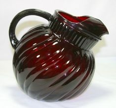 Image detail for -... ANCHOR HOCKING RED ROYAL RUBY GLASS SWIRL PITCHER & 8 TUMBLERS | eBay