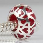 Enamel Red Love Sterling Silver Bead to fit Pandora Style European Charm Bracelet or Big Hole Jewelry. $12.99, via Etsy.