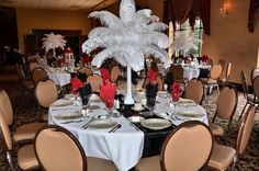 Ostrich Feather Table Centerpiece Decoration by Kimsgiftbaskets, via Flickr