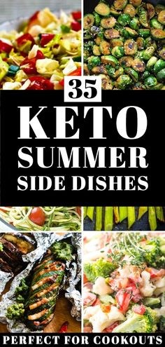 Whether you're planning a BBQ, cookout or family dinner these are the 35 must-have keto diet side dish recipes you need! The best low carb sides for chicken, steak, fish & burgers! From cold keto salads with zucchini, broccoli, & cauliflower to grilled mushrooms, asparagus & eggplant plus green bean fries & Brussels Sprouts you're guaranteed to find new favorite keto side dish recipe for weight loss here! #keto #ketorecipes #lowcarb #LCHF #sidedish #sidedishrecipes Cold Side Dishes, Summer Side Dishes, Low Carb Side Dishes, Side Dishes Easy, Side Dish Recipes, Diet Recipes, Healthy Recipes, Recipes Dinner, Salad Recipes