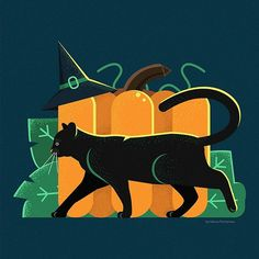 #black #cat #vector #illustration #flat #cartoon #art #digital #inspiration #pumpkin #witch #hat