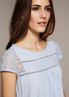 Elegant short sleeve top with delicate lacework from s.Oliver