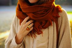 Sweater Weather, Pumpkin Patches, and Halloween. Sweater Weather, Comfy Sweater, Outfits Mujer, Orange Scarf, Fall Scarves, Big Scarves, Chunky Scarves, Oversized Scarf, Colorful Scarves