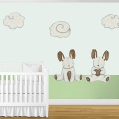Bunny Rabbits & Cloud Wall Stickers - Decals for Bunny Theme Baby Room