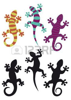 lezard dessin: Silhouettes Gecko et trois arrangements de couleurs différentes Illustration