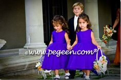 Pegeen Couture in Degas Inspired Tulle Royal purple flower girl dresses style 402