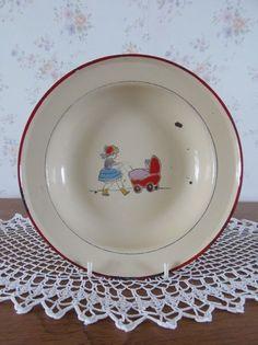 Oud kinderbordje (emaille). www.brocantespulletjes.nl