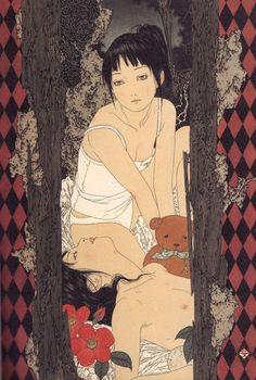 Gli esseri umani di Takato Yamamoto (1960-) sono spesso figure androgine, dalla sessualità incerta, ritratti in uno stato di perenne contemplazione — ma potremmo anche dire di accidia — mentre attorno a loro, spesso, si sviluppa un intricato inferno. Il lavoro di Yamamoto, disturbante, sanguinario per non dire splatter, è un sapiente mix di influenze …