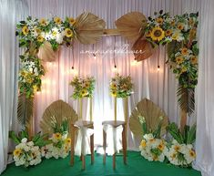 Wedding Backdrop Design, Wedding Stage Decorations, Engagement Decorations, Diy Birthday Decorations, Backdrop Decorations, Deco Champetre, Creation Deco, Deco Floral, Wedding Chairs