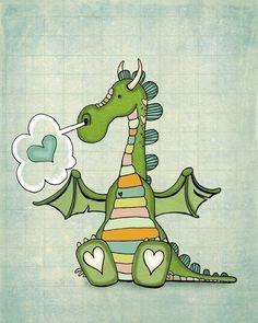 How to train a dragon==== Medieval baby theme? Puff The Magic Dragon, Baby Motiv, Dragon Nursery, Cute Dragons, Mythical Creatures, Nursery Art, Canvas Art Prints, Cute Art, Cotton Canvas