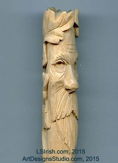 Wood Spirit Carving, 13 Defining the Beard – Classic Carving Patterns - Wood Projects Simple Wood Carving, Wood Carving Faces, Dremel Wood Carving, Wood Carving Designs, Wood Carving Patterns, Wood Carving Art, Wood Art, Wood Wood, Whittling Projects