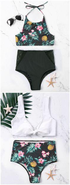 Waterfront Flaunt High-Waisted Bikini Bottom in Unicorns Bikini Swimwear, Bikini Set, Women's Bikinis, Swimsuits, Bikini For Women, High Waisted Bikini Bottoms, Trendy Outfits, Beachwear, Pineapple