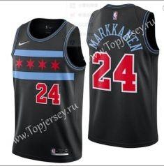 City Edition Chicago Bulls Black  24(MARKKANEN)NBA Jersey Chicago Bulls 6188b70bb