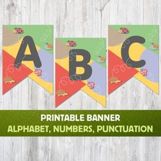 Alphabet Banner Flags Birthday Banner Print Baby Shower Banner