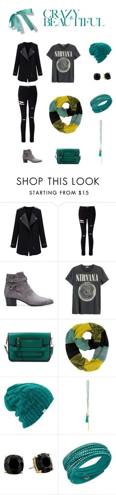 """""""Crazy Beautiful: On the Go"""" by sarahxcasey ❤ liked on Polyvore featuring Miss Selfridge, Yves Saint Laurent, Marc Jacobs, Coal, Gorjana, Kate Spade and Swarovski"""