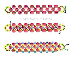 Free pattern for bracelet Barberry - 2----u need Seed beads 11/0 and 8/0, Faceted beads 4-6 mm.