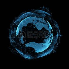 Image of New Technology Virtual Sphere Globe Blue Hologram 3d Hologram, Hologram Technology, New Technology, Globe Picture, Royalty Free Images, Futuristic, Concept Art, Stock Photos, Lakes