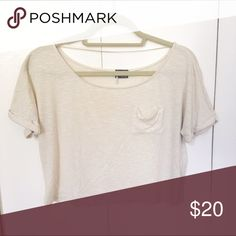 Sparkle + Fade Crop Top Cream colored crop top. Very comfortable and super cute! Urban Outfitters Tops Crop Tops