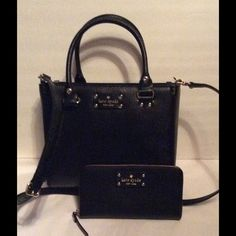 """Kate Spade Wellesley Satchel & Wallet Black NWT Authentic Kate Spade Small Quinn Wellesley Black Satchel. 2 Compartments, 1 large middle zipper pocket. 2 inside slip pockets, 1 inside zipper pocket. Dual handles, adjustable/removable shoulder strap. Length 10"""" Height 8 1/4"""" ,... Kate Spade Neda Wellesley Black Wallet. Zipper closure. 3 compartments, middle zipper pocket, Bill slot, multiple card slots. Full size. ,... Both New with tags . kate spade Bags"""