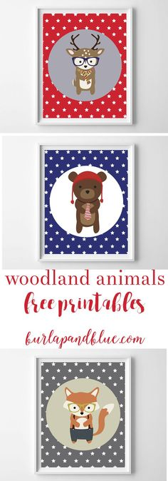 Woodland animals free printables! Choose from deer, fox or bear, on star backgrounds. These are perfect for decorating a nursery or kids room, or using as baby shower decor!