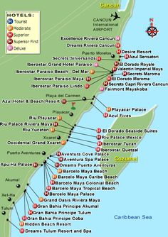 map of resorts Riveria Maya Playa del Carmen... We are going to ...