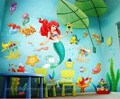 Children Wall Decal, The Little Mermaid, Nursery Wall Decal, peal and stick  decal