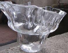 Vintage Sweden art Glass fruit Vase Flower signed Lindshammar Chr Sjogren rare #Lindshammar #ChrSjogren