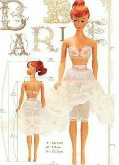 "SIMILAR TO Vintage Barbie Floral Petticoat #921 (1959-1963) undergarments, this is the beautifully illustrated ""Barbie Bra, Petticoat and Bloomers Sewing Pattern PDF "" By CraftyLine e-pattern shop... In 1959-1963 at $1.25 per FLORAL PETTICOAT ensemble, Vintage Barbie clothes were so expensive, so many little girls put their sewing skills to work by making their own fashions for their diminutive divas..."