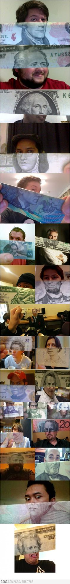 Funny money face mashups, the one at the bottom looks like gary buesey