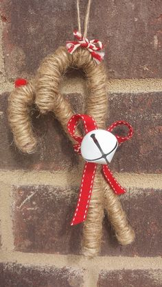Twine wrapped Candy Cane ornament