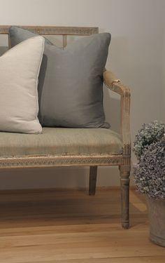 Details   Portfolio   Luxe Living Interiors Swedish bench + custom silk pillows