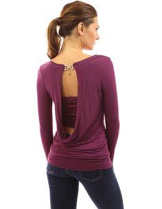 588b8813d0b40 PattyBoutik Women s Cowl Neck Backless Buckle Twinset Top (Dark Magenta M)